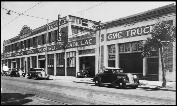 Holden's Brisbane assembly plant, Wickham Street, Fortitude Valley, c1930 (source: Holden Retirees Club Website)