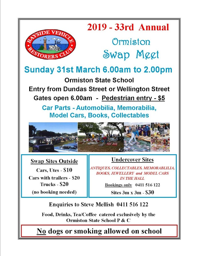 Ormiston Swap Meet flyer 2019